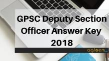 GPSC Deputy Section Officer Answer Key 2018 Aglasem