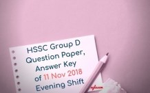 HSSC Group D Question Paper, Answer Key of 11 Nov 2018 Evening Shift